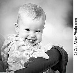 bébé, monochrome, sourire, rire, heureux