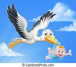 bébé, mythe, cigogne, dessin animé, garçon, oiseau, grossesse