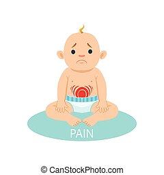 bébé naissant, être, ventre, malheureux, collection, raisons, douleur, pleurer, dessin animé, peu, avoir, couche, garçon, partie, illustration