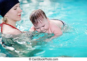 bébé, natation