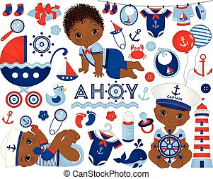 bébé, nautique, vecteur, américain, style., garçon, ensemble, africaine, illustration