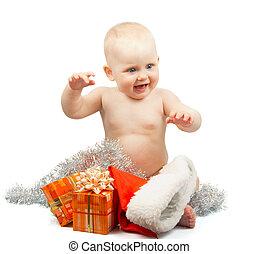 bébé, noël, heureux, clinquant, argent