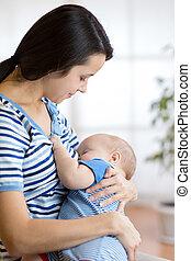 bébé, nourrit, lait, nichons, mère