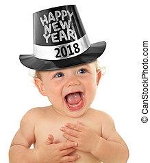 bébé, nouveau, heureux, année