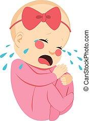 bébé, nouveau né, pleurer