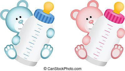bébé, ours peluche, agréable