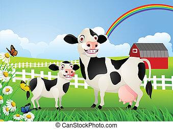 bébé, pâturage, vache, mère