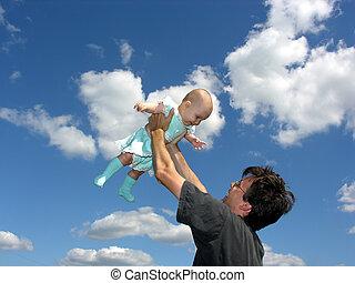bébé, père, ciel