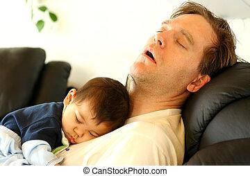 bébé, père, dormir