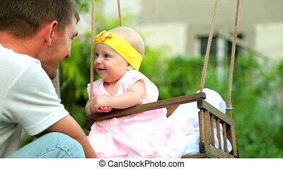 bébé, père, heureux