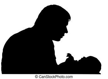 bébé, père, silhouette