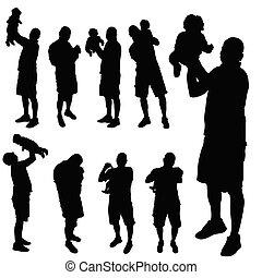 bébé, père, vecteur, silhouette