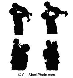 bébé, père, vecteur, silhouette, tenue