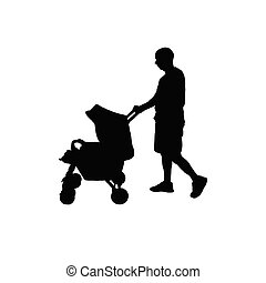 bébé, père, voiture, vecteur, silhouette
