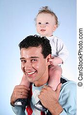 bébé, pères, épaules