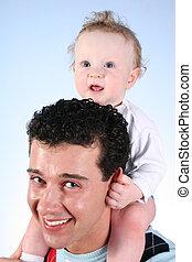 bébé, pères, 2, épaules