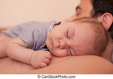 bébé, papa, sommeils