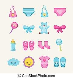 bébé, paquet, accessoires, mignon