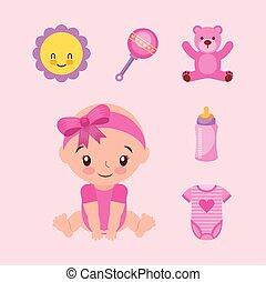 bébé, paquet, girl, mignon, accessoires