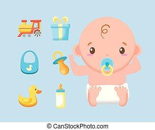 bébé, paquet, mignon, garçon, accessoires