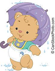 bébé, parapluie, ours