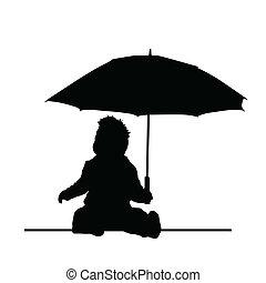 bébé, parapluie, vecteur, silhouette, tenue