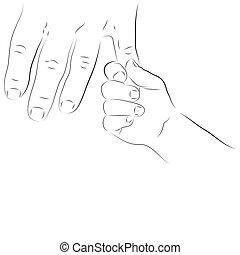 bébé, parent, main