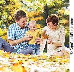 bébé, parents, jeune, jouer