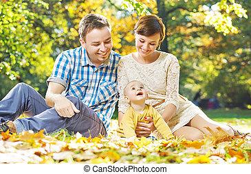 bébé, parents, observer, content, leur