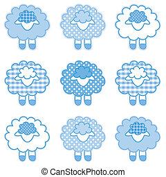 bébé, pastel, bleu, patchwork, agneaux