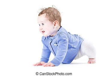 bébé, peu, crawl, girl, apprentissage