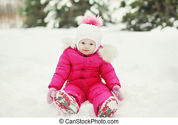 bébé, peu, hiver, jour, neige