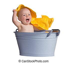 bébé, peu, joyeux, bain