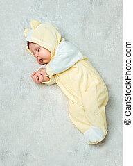 bébé, peu, moquette, dormir