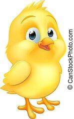 bébé, peu, paques, oiseau, poussin, poulet, dessin animé