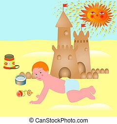 bébé, peu, plage