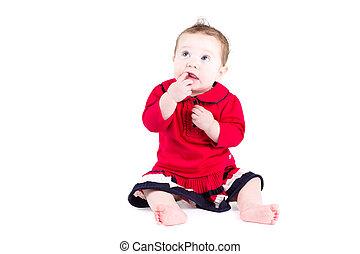 bébé, peu, robe, girl, rouges