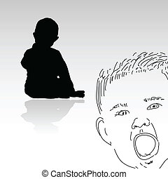 bébé, peu, silhouette