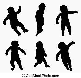 bébé, peu, silhouettes, heureux
