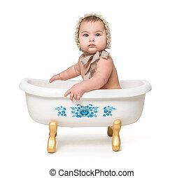 bébé, peu, sitiing, bain