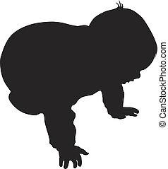 bébé, peu, vecteur, silhouette