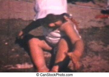 bébé, plage, (1969), jouer