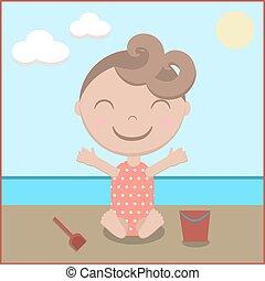 bébé, plage, dessin animé, heureux