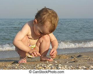 bébé, plage