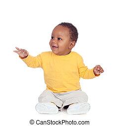 bébé, plancher, adorable, africaine, séance
