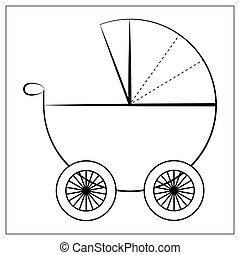bébé, plat, blanc, vecteur, logo, visite, etc., conception, carte, signes, poussette, arrière-plan., icon., isolé, landau