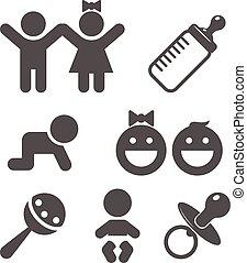 bébé, plat, icône