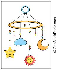 bébé, plat, vecteur, pictogramme, couleur, mobile, icon.