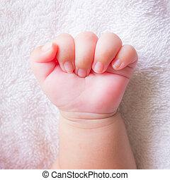 bébé, poing, main