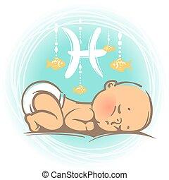 bébé, poissons, zodiaque